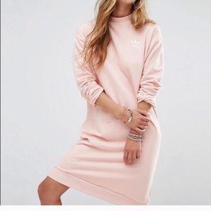Adidas Past CR Pink Sweatshirt Dress Trefoil S